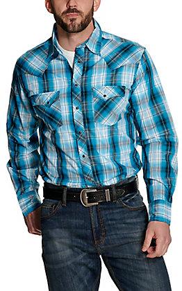 Wrangler Men's Turquoise, Black and White Plaid Long Sleeve Western Shirt