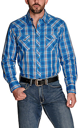Wrangler Men's Blue with Black and White Plaid Long Sleeve Western Shirt