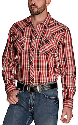 Wrangler Men's Red with Black and Grey Plaid Long Sleeve Western Shirt