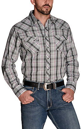 Wrangler Men's Grey with Black and Purple Plaid Long Sleeve Western Shirt