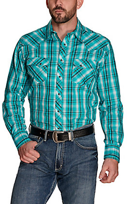 Wrangler Men's Turquoise with Black and White Plaid Long Sleeve Western Shirt