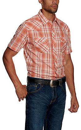 Wrangler Men's Orange Plaid Short Sleeve Western Shirt