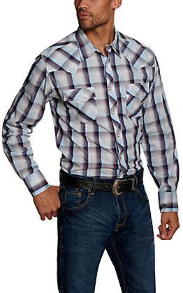 Wrangler Men's Navy Plaid Long Sleeve Western Shirt