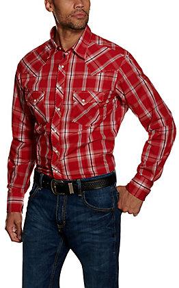 Wrangler Men's Red Plaid Long Sleeve Western Shirt