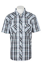 Wrangler Men's Black Ombre and Teal Plaid S/S Cavender's Exclusive Western Snap Shirt