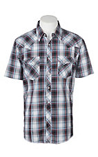 Wrangler Black and Red Ombre Plaid Cavender's Exclusive S/S Western Snap Shirt