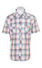 Wrangler Blue and Rust Ombre Plaid Cavender's Exclusive S/S Western Snap Shirt