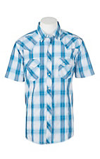 Wrangler Men's Blue and White Dobby Plaid S/S Cavender's Exclusive Western Snap Shirt
