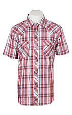 Wrangler Men's Red and Grey Dobby Plaid S/S Cavender's Exclusive Western Snap Shirt