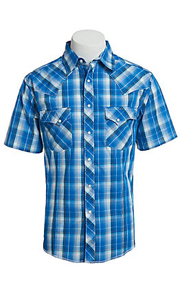 Wrangler Men's Cavender's Exclusive Dobby Blue Plaid Short Sleeve Easy Care Western Shirt