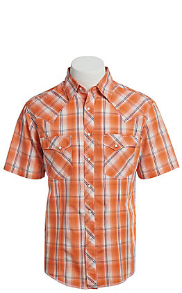 Wrangler Men's Cavender's Exclusive Dobby Orange Plaid Short Sleeve Easy Care Western Shirt - Big & Tall