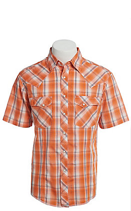 Wrangler Men's Cavender's Exclusive Dobby Orange Plaid Short Sleeve Easy Care Western Shirt