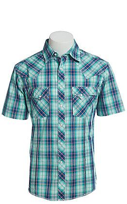 Wrangler Men's Teal Plaid Short Sleeve Easy Care Western Shirt - Big & Tall