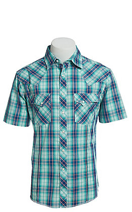 Wrangler Men's Teal Plaid Short Sleeve Easy Care Western Shirt