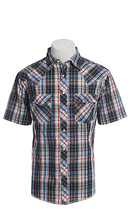 Wrangler Men's Cavender's Exclusive Dobby Black Plaid Short Sleeve Easy Care Western Shirt - Big & Tall