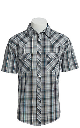 Wrangler Men's Cavender's Exclusive Dobby Multi Plaid Short Sleeve Easy Care Western Shirt