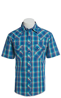 Wrangler Men's Cavender's Exclusive Dobby Teal Plaid Short Sleeve Easy Care Western Shirt