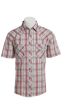 Wrangler Men's Cavender's Exclusive Dobby Red Plaid Short Sleeve Easy Care Western Shirt