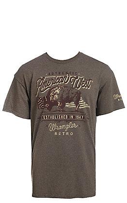 Wrangler Men's Heather Grey Retro American West Short Sleeve T-Shirt
