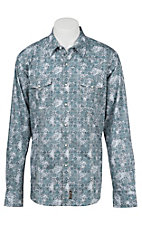 Wrangler Men's L/S Grey and Blue Retro Print Western Shirt