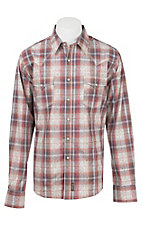 Wrangler Men's L/S Retro Red Plaid Overprint Western Shirt