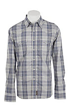 Wrangler Retro Men's Blue, White and Grey Plaid Western Snap Shirt