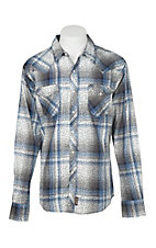 Wrangler Retro Men's Blue Plaid L/S Western Shirt