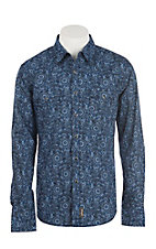 Wrangler Retro Men's Navy Print Western Snap Shirt