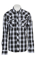 Wrangler Retro Men's Black and Grey Plaid L/S Western Snap Shirt