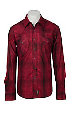 Wrangler Retro Men's Red Plaid w/ Overprint L/S Western Snap Shirt