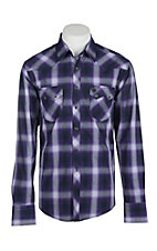 Wrangler Retro Men's Purple Plaid L/S Western Snap Shirt