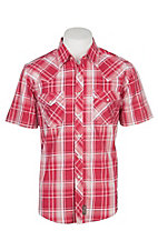 Wrangler Retro Men's Pink and White Plaid Cavender's Exclusive S/S Western Snap Shirt