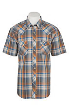 Wrangler Retro Men's Charcoal and Orange Plaid S/S Western Snap Shirt