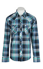 Wrangler Retro Men's Navy and Turquoise Plaid L/S Western Snap Shirt