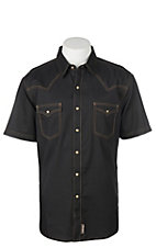 Wrangler Retro Black Solid S/S Cavender's Exclusive Western Snap Shirt