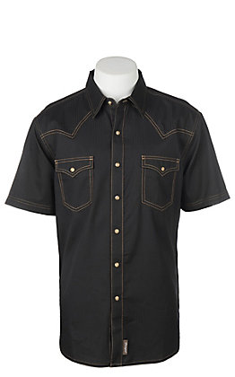 Wrangler Retro Cavender's Exclusive Men's Black Solid Short Sleeve Western Snap Shirt