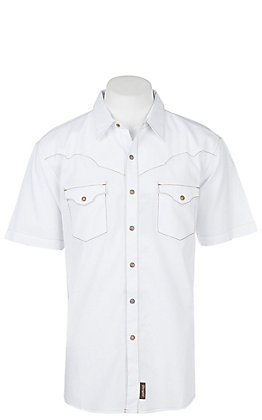 Wrangler Retro Solid White Cavender's Exclusive S/S Western Snap Shirt