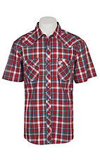Wrangler Retro Men's Royal Red Plaid S/S Western Snap Shirt