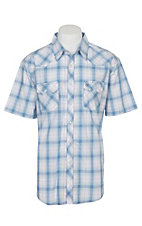 Wrangler Retro Men's Faded Light Blue Plaid S/S Western Snap Shirt