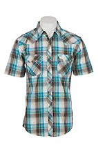 Wrangler Retro Men's Faded Teal & Brown Plaid S/S Western Snap Shirt