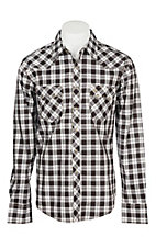 Wrangler Retro Men's Brown Plaid L/S Western Snap Shirt