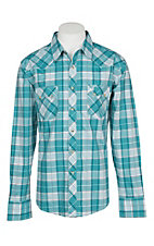 Wrangler Retro Men's Teal, White and Red Plaid Western Snap Shirt