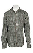 Wrangler Retro Men's Brown Cactus Print L/S Western Snap Shirt