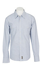 Wrangler Retro Men's Light Blue with White Diamond Print L/S Western Snap Shirt