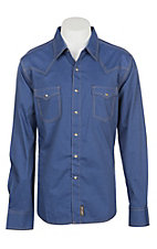 Wrangler Retro Men's Solid Navy Diamond Print L/S Western Snap Shirt