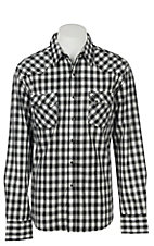 Wrangler Retro Men's Black Plaid Long Sleeve Western Snap Shirt