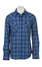 Wrangler Retro Men's Blue Plaid Long Sleeve Western Snap Shirt