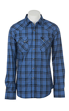 Wrangler Retro Men's Blue Plaid Long Sleeve Western Snap Shirt