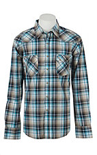 Wrangler Retro Men's Blue & Brown Plaid Long Sleeve Western Shirt