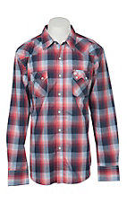 Wrangler Retro Men's Red Plaid Long Sleeve Western Snap Shirt